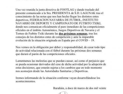 Comunicado oficial de FOOTLAG