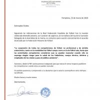 Comunicado oficial de la Federación Navarra de Fútbol
